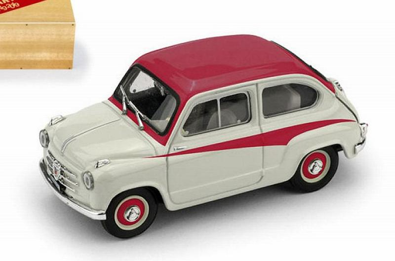 Fiat 600 1a Serie Derivazione Abarth 750 1956 (Light Grey/Red) by brumm