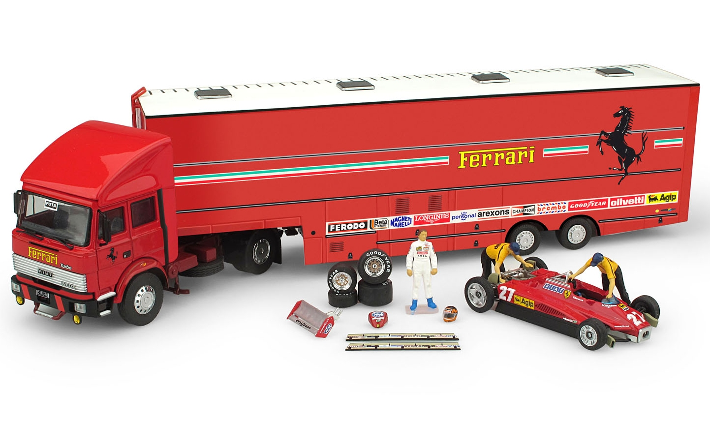 Ferrari Race Transporter set 1982 Fiat Iveco Truck+ 1xFerrari 126C2 +accessories by brumm