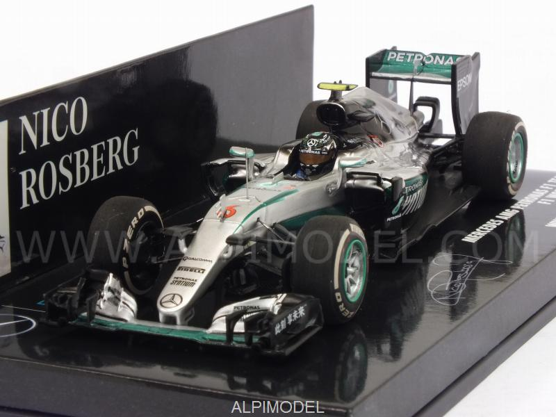 Mercedes W07 AMG Hybrid #6 Winner GP China 2016 World Champion Nico Rosberg (HQ resin) by minichamps