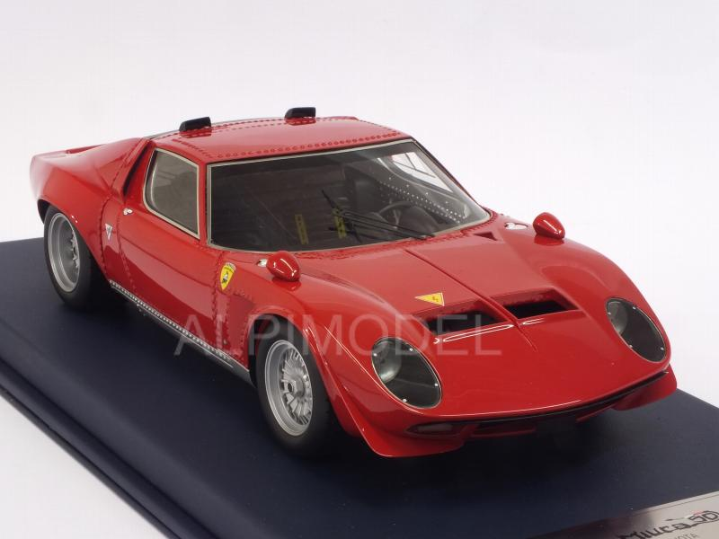Lamborghini Miura Jota with air intakes 1970 (Red) with display case by LSM