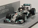 Mercedes W05 AMG Hybrid Winner GP Bahrain 2014 World Champion Lewsi Hamilton by MINICHAMPS